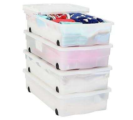 Cajas de almacenamiento de plástico con ruedas, 4 cajas.