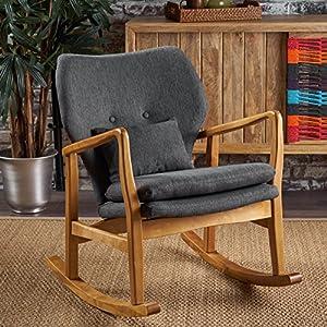 Christopher Knight Home Jenny Mid Century Modern Fabric Rocking Chair, Dark Slate, Light Walnut