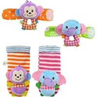 Deardeer 4 x Baby Infant Soft Toys Animal Wrist Rattles Hands Foots Finders Developmental Toys-Monkey and Elephant