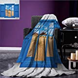 Spain park blanket Sand View from Window of Spain Beach Distant Hill Plants Sand Touristic Print soft blanket Blue Sand Brown size:59''x35.5''