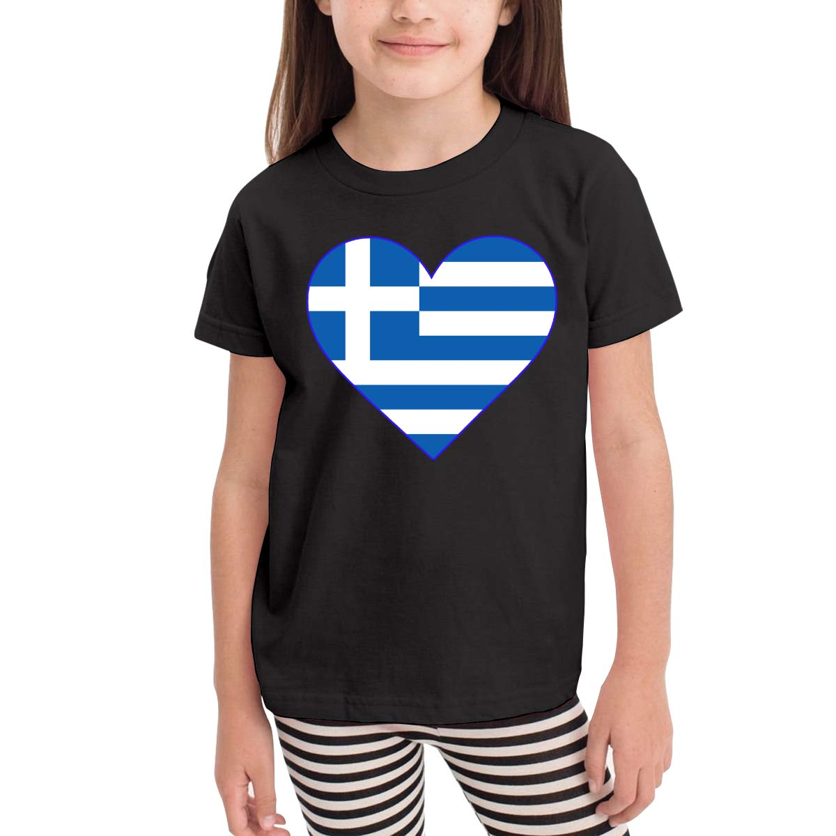Childrens Flag of Greece Soft Short Sleeve Tee Tops Size 2-6