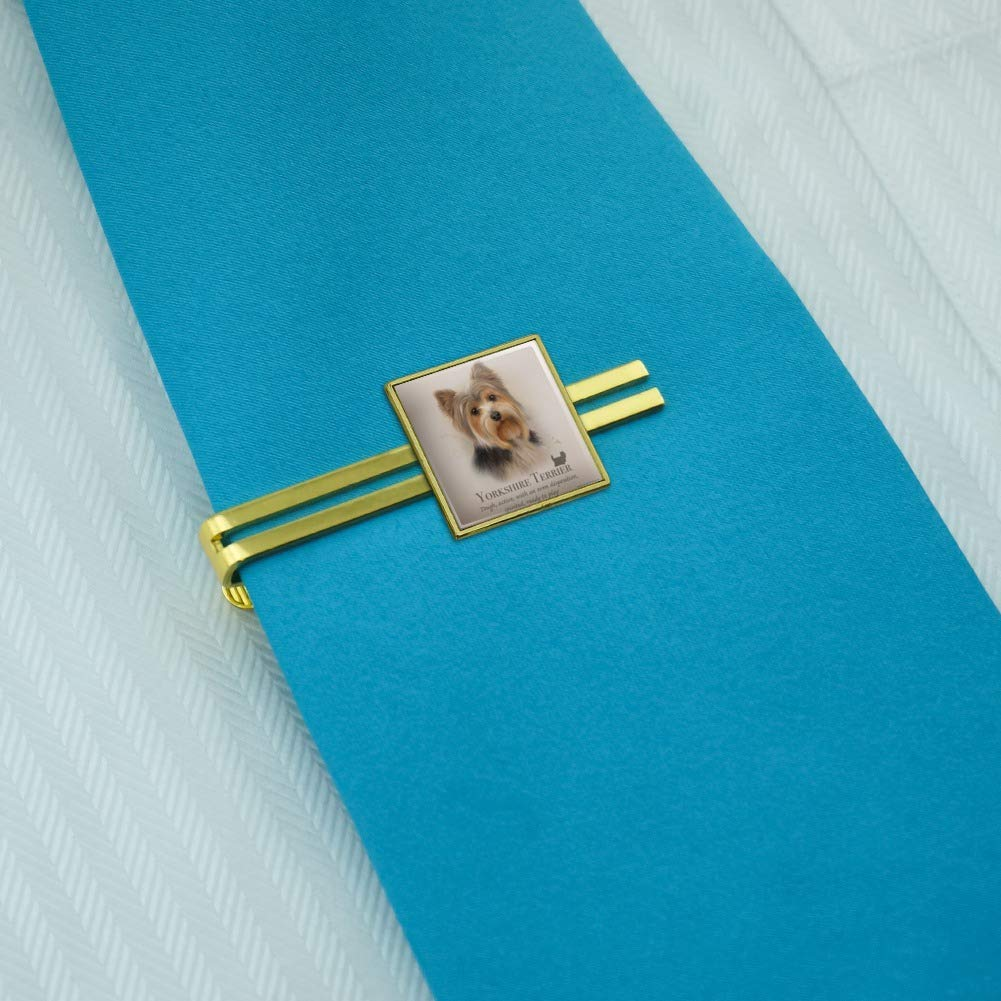 GRAPHICS /& MORE Yorkshire Terrier Yorkie Dog Breed Square Tie Bar Clip Clasp Tack Gold Color