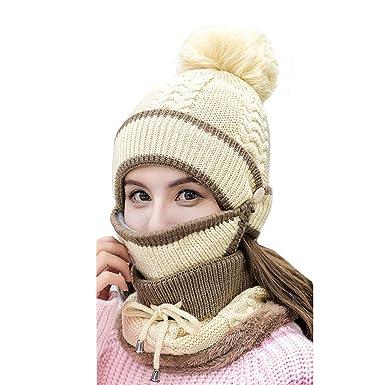 26073699c0ea Boomly Femmes Chapeau d hiver à Tricoter + Écharpe doublée en Molleton +  Masque Facial