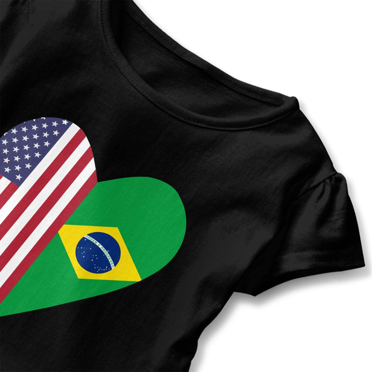 Half Brazil Flag Half USA Flag Love Heart Kids Children Short-Sleeved T-Shirt Clothes