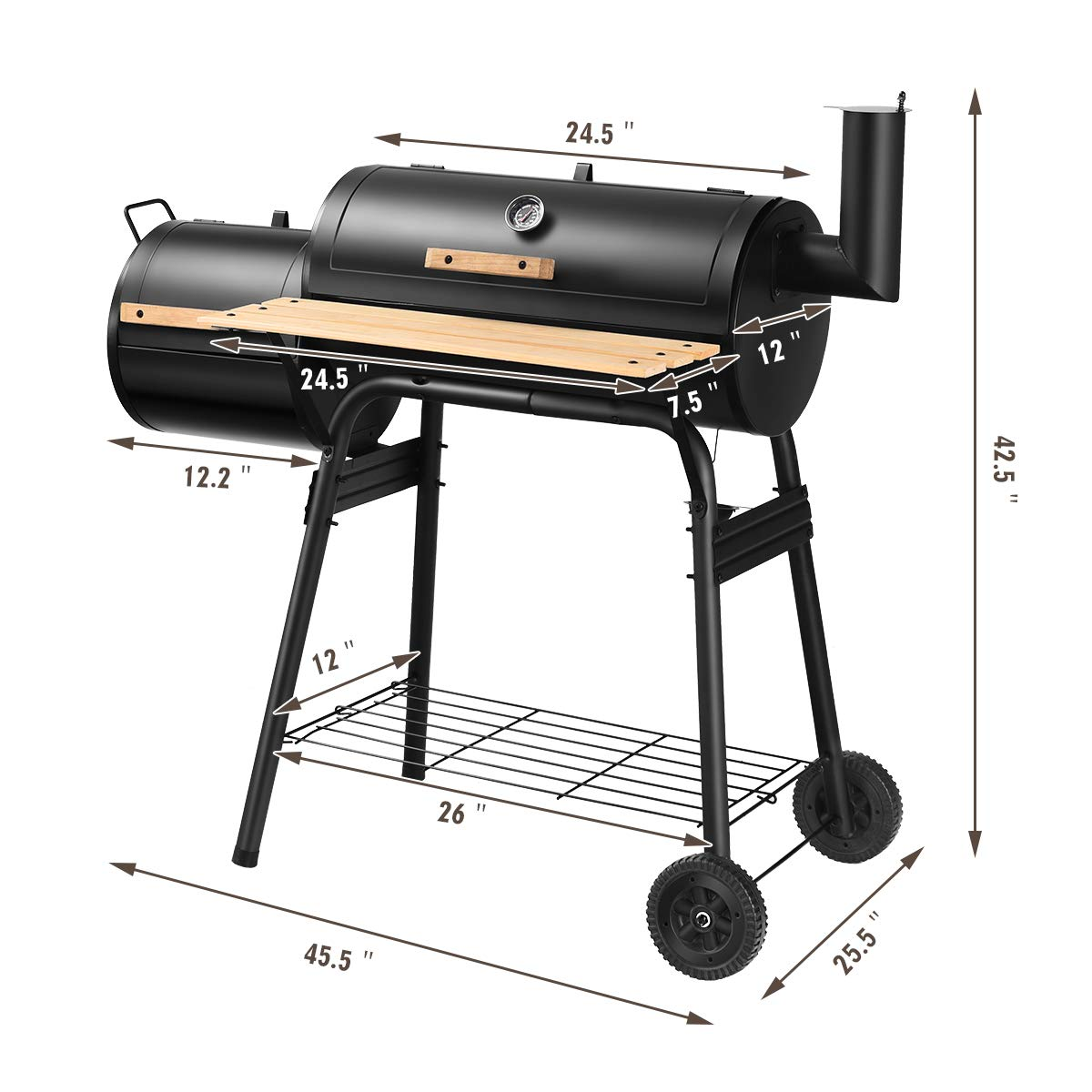 Giantex BBQ Grill Charcoal Barbecue Grill Outdoor Pit Patio Backyard Home Meat Cooker Smoker with Offset Smoker by Giantex (Image #9)
