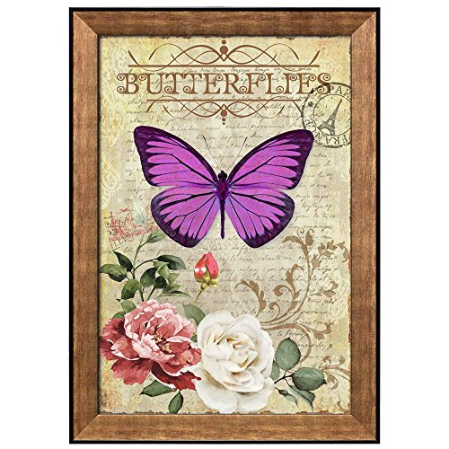 Collage of a Purple Butterfly Above a Branch with Roses That Are Sitting on a Paper with Handwriting Framed Art