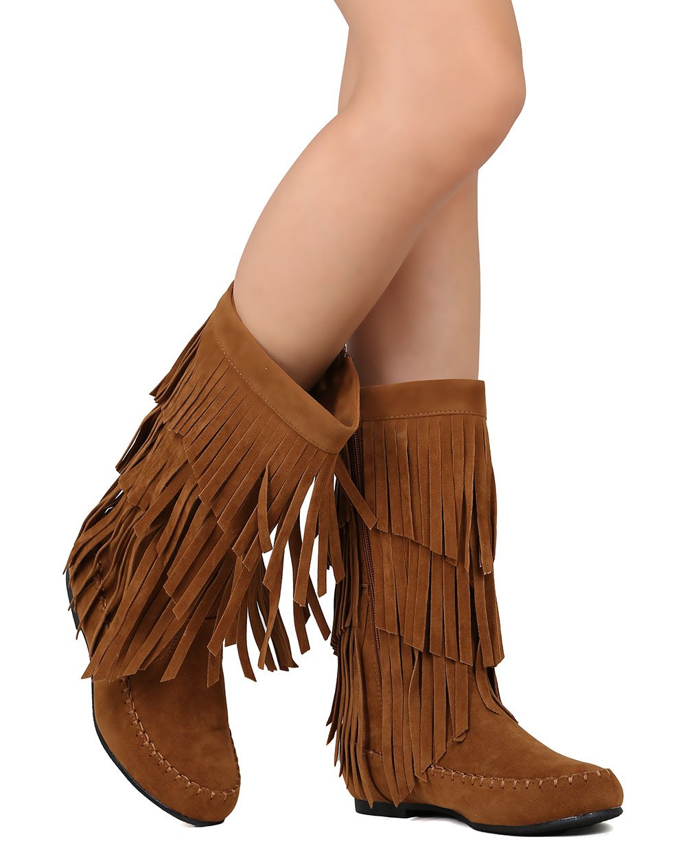 Refresh Women Faux Suede Mid Calf Cascading Fringe Moccasin Boot FI10 - Tan (Size: 8.0)