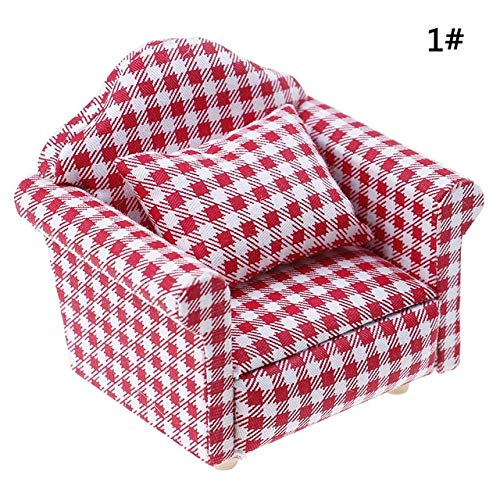 eSunny 1:12 Dollhouse Furniture Dot Plaid Wer Chair Sofa with Pillow Sweet Furniture for Doll House Armchair Furniture Toys Gift Must Have Gifts 4 Year Old Boy Gifts Childrens Favourites (Swivel Chair Plaid)