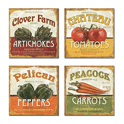 Spirit Up Art Retro Vegetables (Tomatoes, Peppers, Carrots, Artichokes) of Food Picture Painting on Canvas Print Stretched and Framed, Ready to Hang, Modern Home Decorations Wall Art Set of -