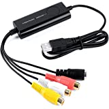 Top-Longer USB Video Capture Card ,VHS to DVD, Digitise Video, Analog to Digital Recorder, RCA Composite, S-Video Win 10 / MAC -Black