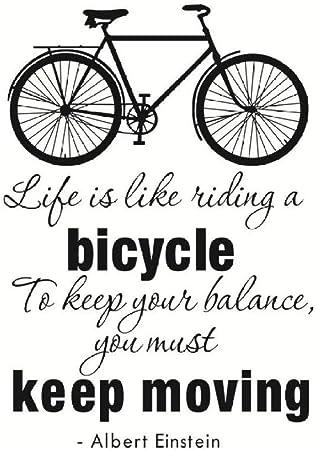 KAMAUAY La Vida Es como Andar En Bicicleta Pegatina De Pared En Movimiento Sala De Estar Decoración para El Hogar Patrón De Bicicleta DIY Vinilo Tatuajes De Pared 58 * 83 Cm: