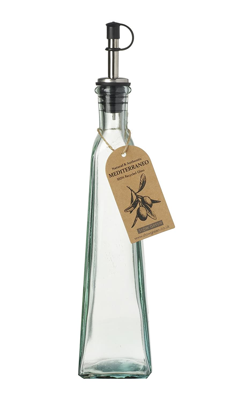 Mediterraneo de cristal reciclado (aceite de oliva/vinagre botellas con llovizna boquilla antigoteo para 350 ml verde: Amazon.es: Hogar