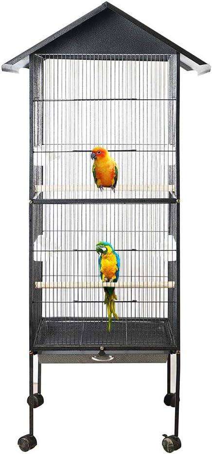 Galapara Jaula de Metal para Pájaro Mascotas, Mascota Jaula de pájaros Ancho Alto Gran Capacidad Multifunción Alimentación Descanso Diversión Fácil Limpieza Loros Guacamayo Cacatúa Nido Suministros
