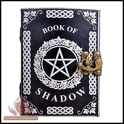 Diario de piel hecho a mano con diseño de pentagrama plateado, libro de dibujos de brujas de Wicca Pagan Pentacle, cuaderno...