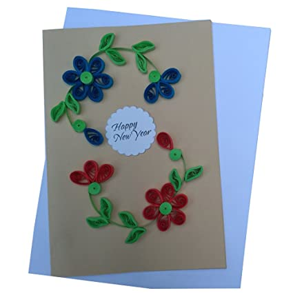 varsha creations handmade quilled happy new year greeting card 21x15 cm