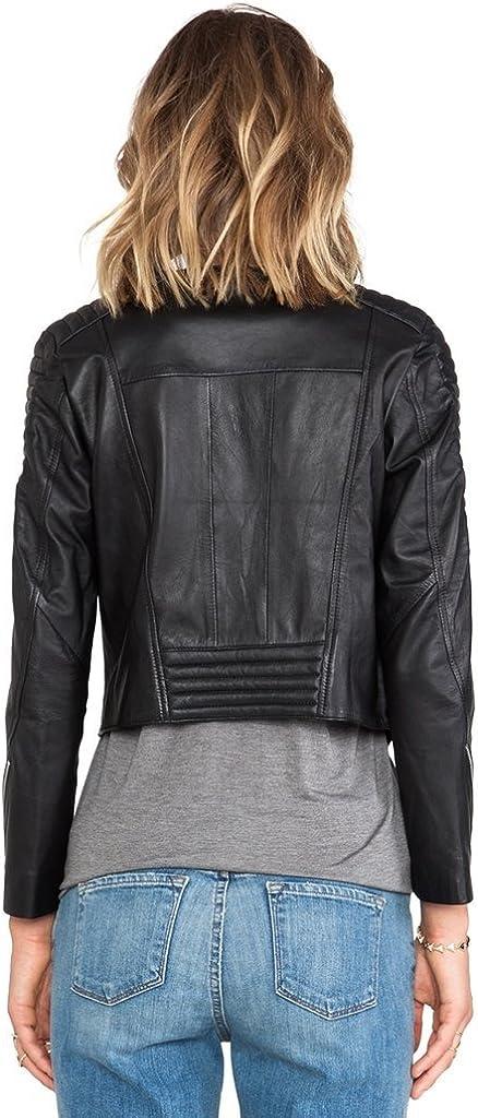 Fab Leather Womens Genuine Lambskin Bomber Biker Leather Jacket