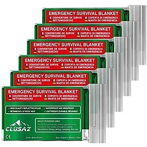 CLUSAZ Manta de Emergencia XL 210x160cm (Paquete de 6) Retiene hasta el 90% del Calor, Impermeable, Esquí, Maratón, Senderismo, Campamento, Primeros Auxilios, Seguridad Vial - Garantía 10