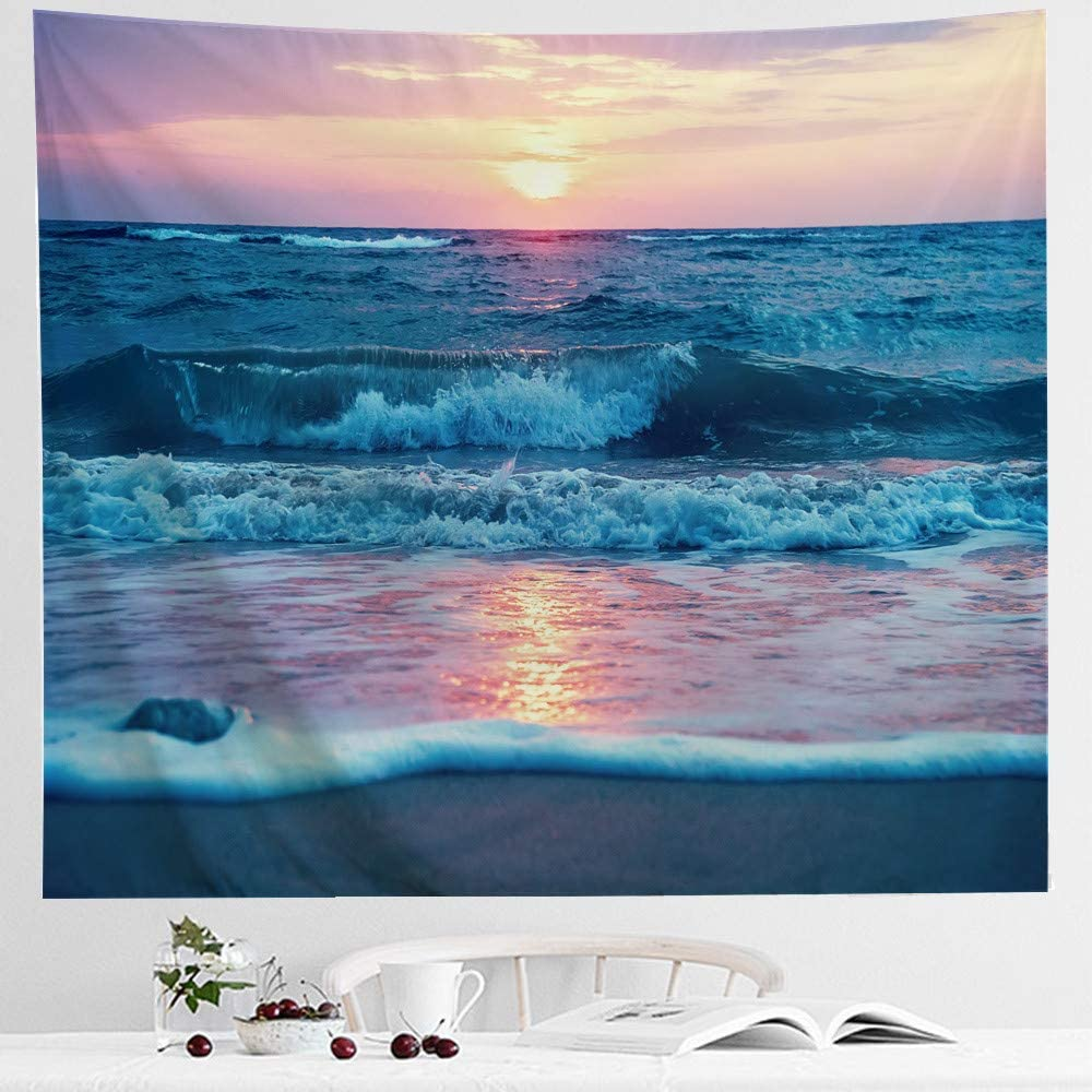 IcosaMro Ocean Tapestry Wall Hanging, Sea Beach Wave Sun Cloud Landscape Scenery Nature Wall Art [Double-Folded Hems] Bohemian Home Decor for Bedroom, Dorm, College, Living Room, 60x82.7, Blue