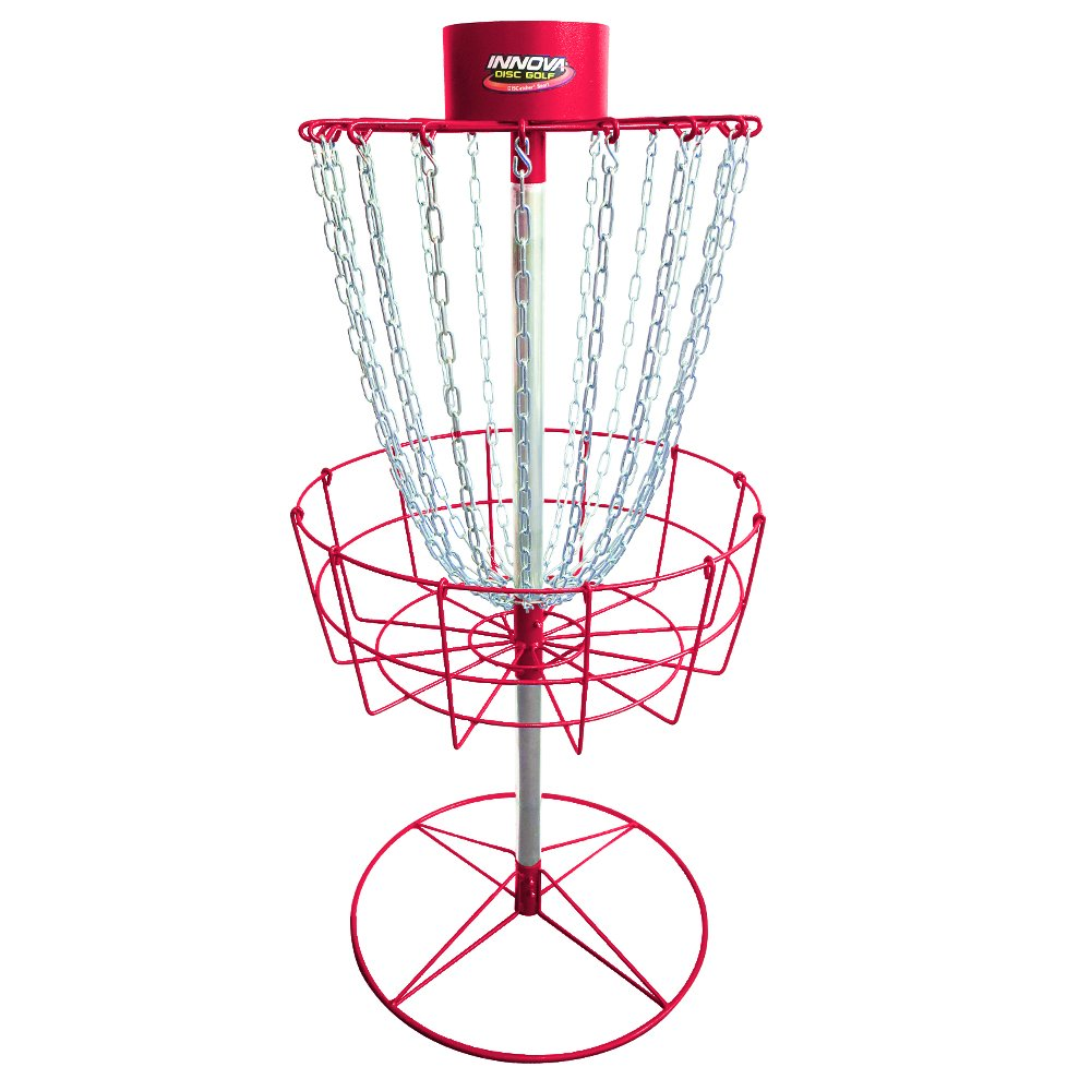INNOVA Hammer Finish Discatcher Sport 18 Chain Portable Disc Golf Basket - Red