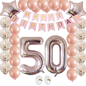 Rose Gold 50th Birthday Decorations Kit Confetti Latex Balloon