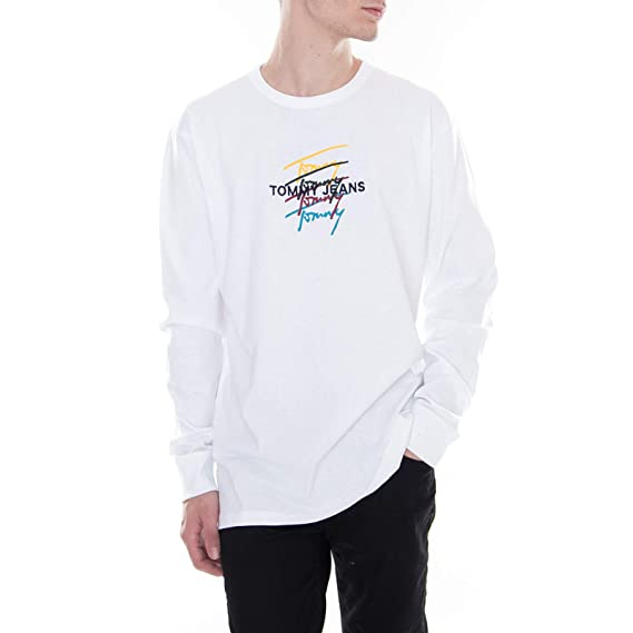 b7fe50cd Tommy Hilfiger - Long Sleeve T-Shirt - TJM Repeat Signature Classic - White:  Amazon.co.uk: Clothing