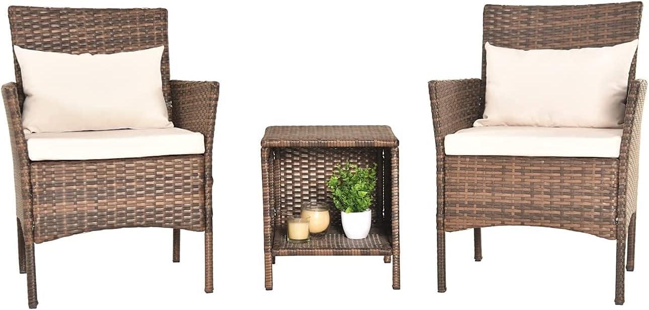 3 PCS Patio Rattan Conversation Chair Set, 3 PCS Patio Wicker Rattan Furniture Set, Patio Wicker Rattan Table (Brown)