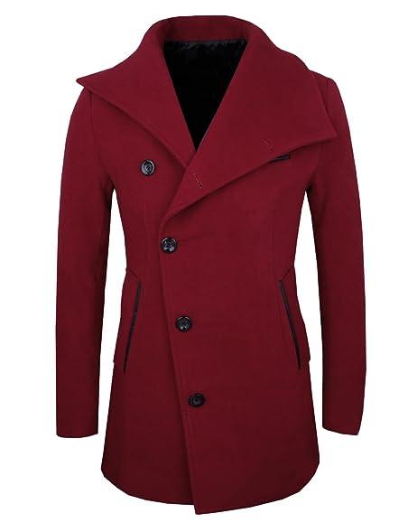 HRYfashion Mens Stylish Slim Fit Unbalanced Wool Pea Coat at ...