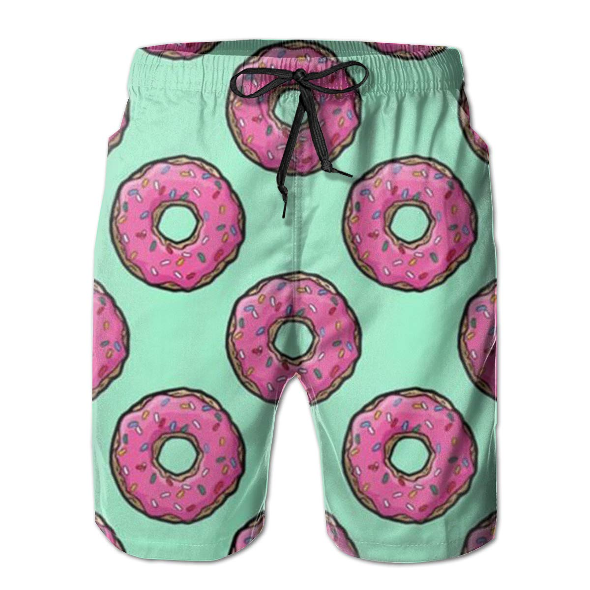 Mens Delicious Donut Summer Holiday Quick-Drying Swim Trunks Beach Shorts Board Shorts