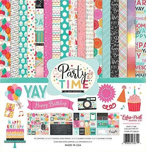Price comparison product image Echo Park - Party Time 12x12 Scrapbooking Kit - Item PT108016TM - Balloons,  Presents,  Birthday Cakes,  Cupcakes,  Cameras,  Party Hats,  Candles,  Sheet Music,  Polka Dots,  and Decorations