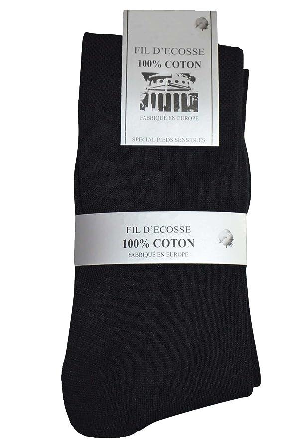 KARL LOVEN Juego de 3/6/12 pares de calcetines finas costuras pies sensibles en alambre de Ecosse 100% algodón - talla - 39 - 42/43 - 46, Pack 12 Paires, ...