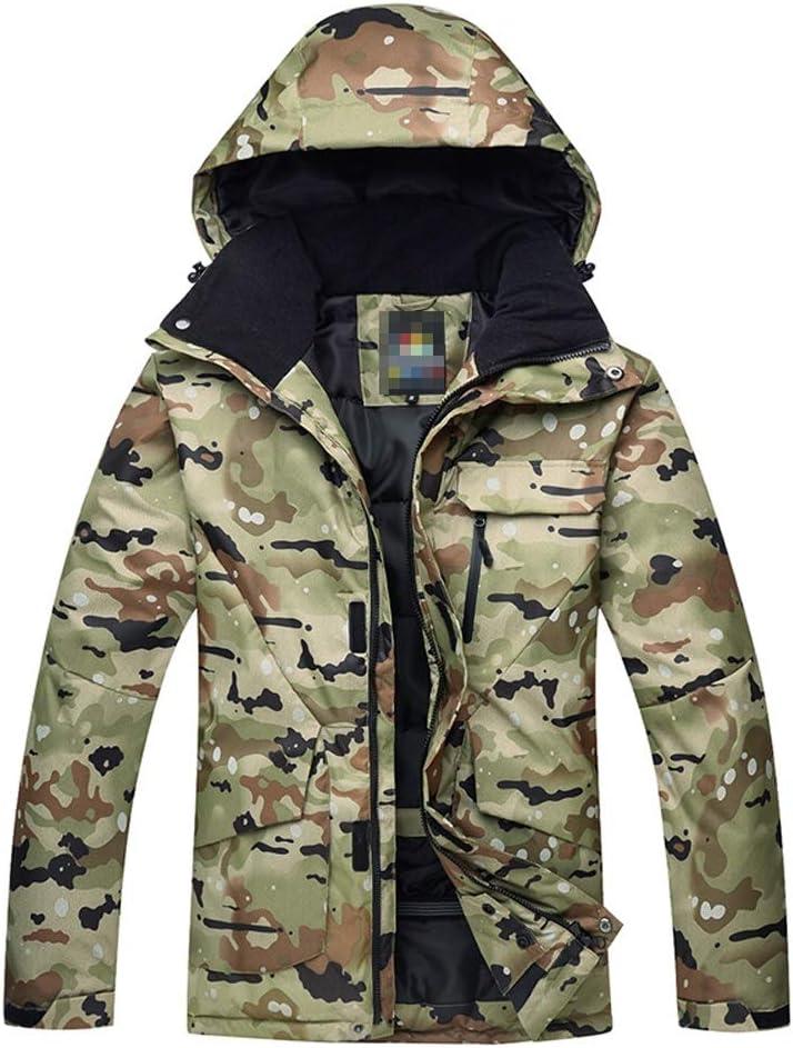 メンズスキーウェア フード 暖かいS-Mが付いているカーキ色のカモフラージュスノーボードコート スキー休暇用 (色 : Khaki camouflage, サイズ : S) Khaki camouflage Small