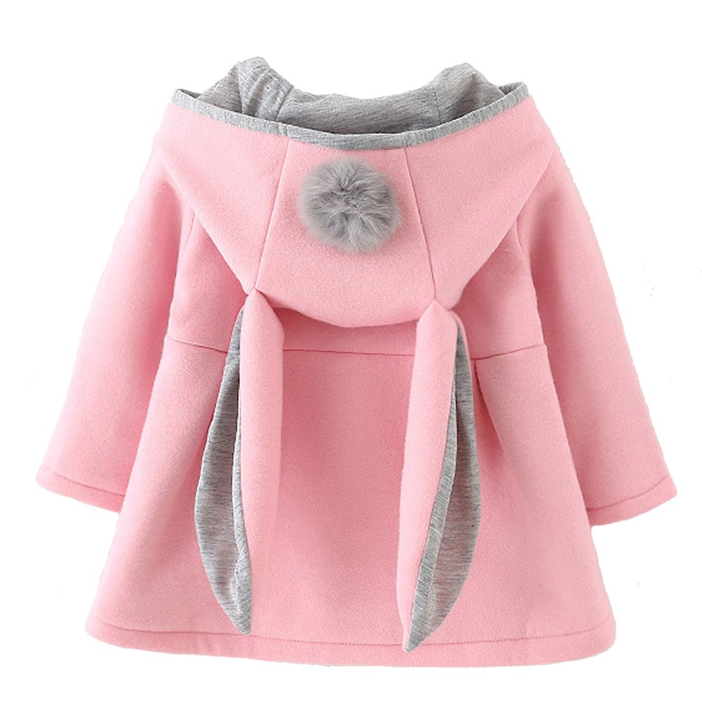 Baby Girl's Toddler Fall Winter Coat Jacket Outerwear Ears Hoodie(6,Pink)