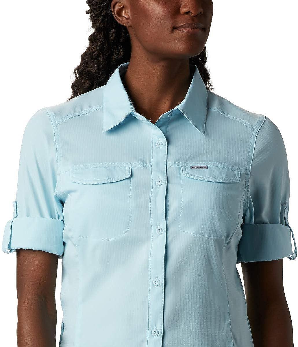 Spring Blue Columbia Womens Silver Ridge Lite Plaid Long Sleeve Wicking Shirt X-Large