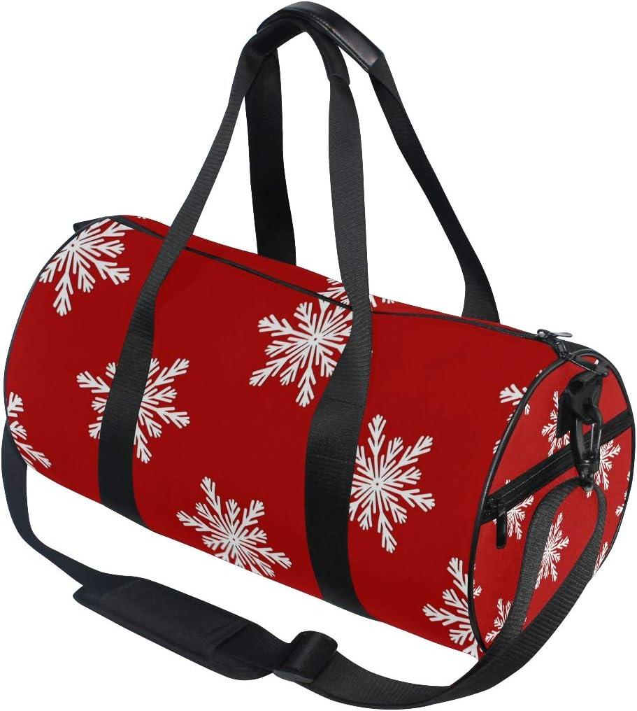 MALPLENA Happy New Year Poinsettia Drum gym duffel bag women Travel Bag