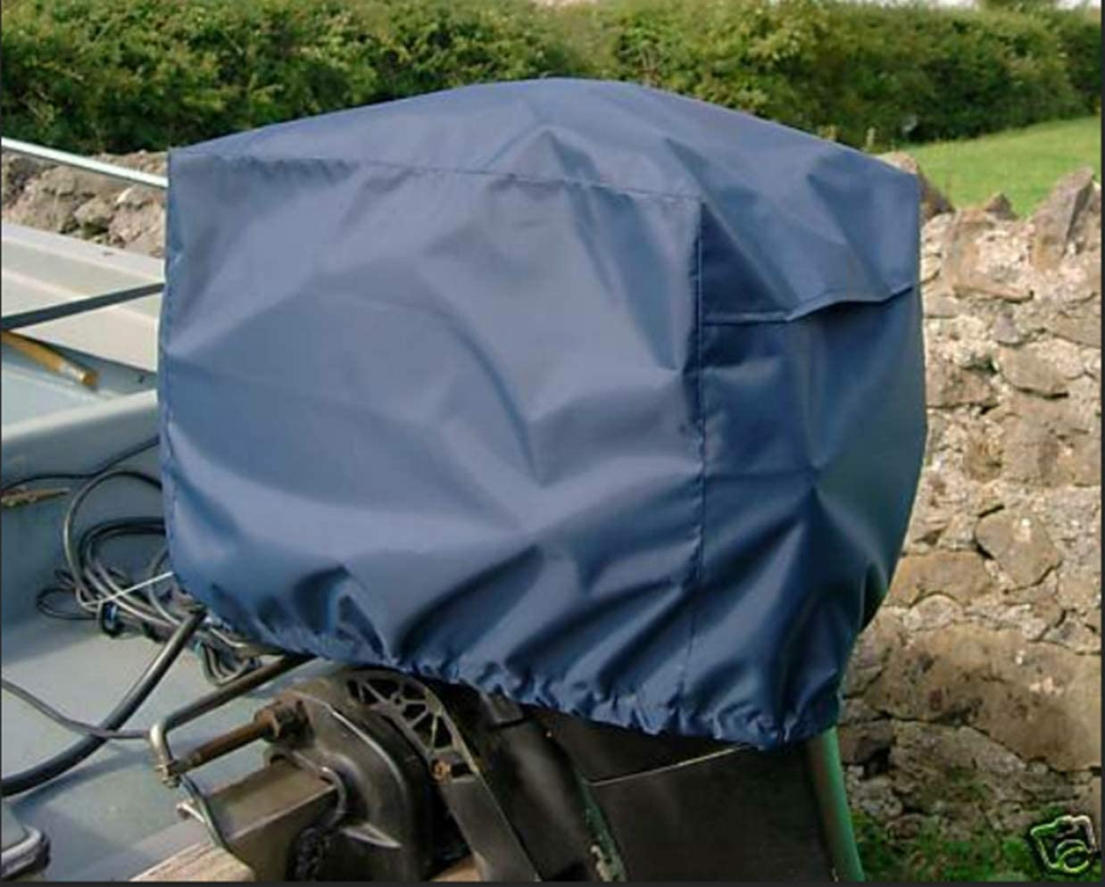 Heavy Duty Outboard Motor Cover 600D Waterproof Boat Motor Hood Cover Upgraded Rainproof UV Resistant with Thick Polyester Fabric