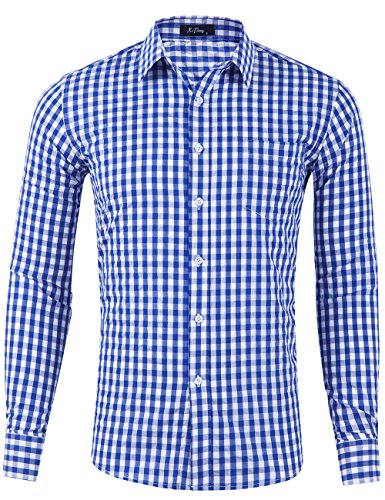 - XI PENG Men's Slim Fit Plaid Checkered Gingham Long Sleeve Dress Shirts (Blue Tartan, Large)