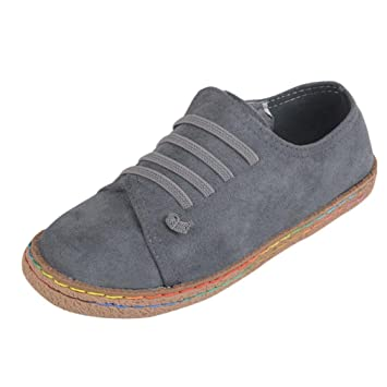 bb24edb99438b3 Amazon.com  Women Fashion Sneaker- Ladies Soft Flat Ankle Martin Shoes-  Female Suede Leather Lace-Up Boots-Soft Sole-Suit for Your Clothes  -MOONHOUSE (7