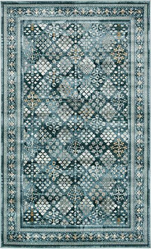 Area Rug Vintage Dark Blue 5' x 8' FT St. John Collection Rugs - Inspired Overdyed Carpet