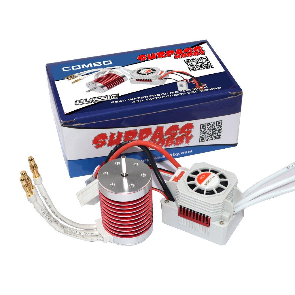 Studyset Surpass Hobby Platinum Set Waterproof F540 3800KV/3930KV/4370KV Brushless Motor with 45A ESC for 1/10 1/12 RC Car Truck KV3800+45A