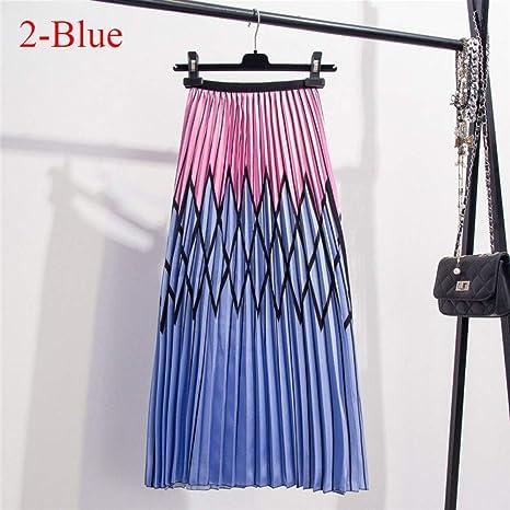 HEHEAB Falda,Contraste De Moda Azul Falda Plisada De Cintura Alta ...