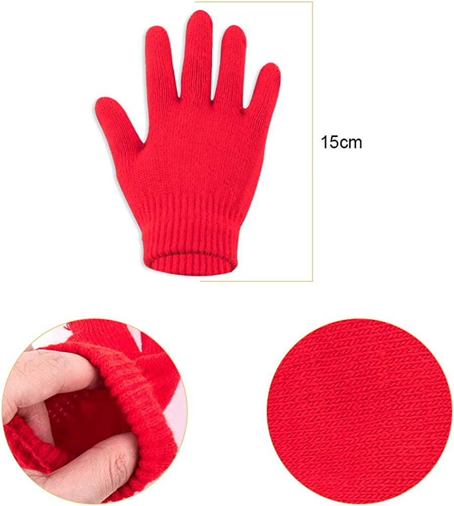 5-13 Years WXJ13 12 Pairs Kids Warm Magic Gloves Children Stretchy Warm Magic Gloves Kids Knitted Magic Gloves Full Finger Mittens for Boys and Girls