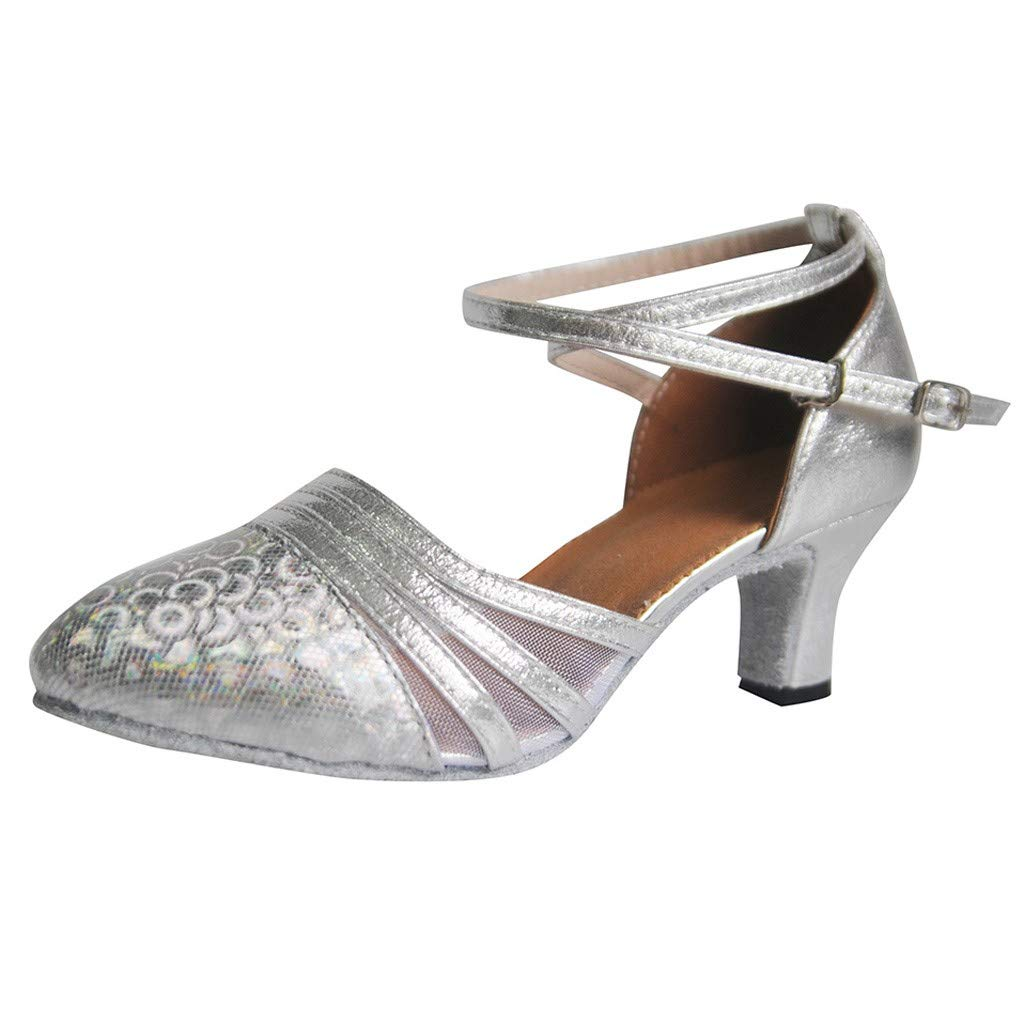 Selomore Women's Professional Latin Dance Shoes Round Toe Wedding Sequins Single Shoes(Silver,US: 7.5)