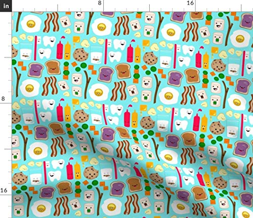 - Kawaii Fabric - Egg Peanut Butter Jelly Peas Carrots Marshmallow Print on Fabric by The Yard - Sport Lycra for Swimwear Performance Leggings Apparel Fashion
