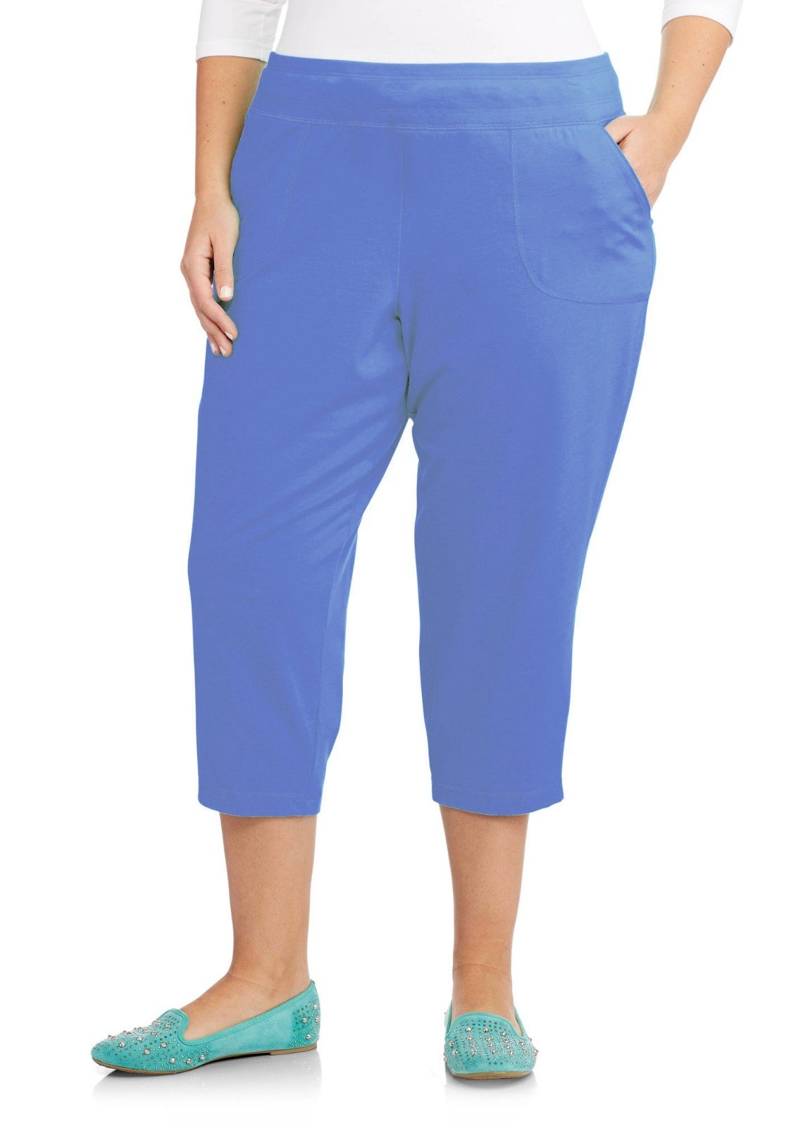 Just My Size French Terry Womens Pocket Capri Pants, Blink Blue Heather, 4X
