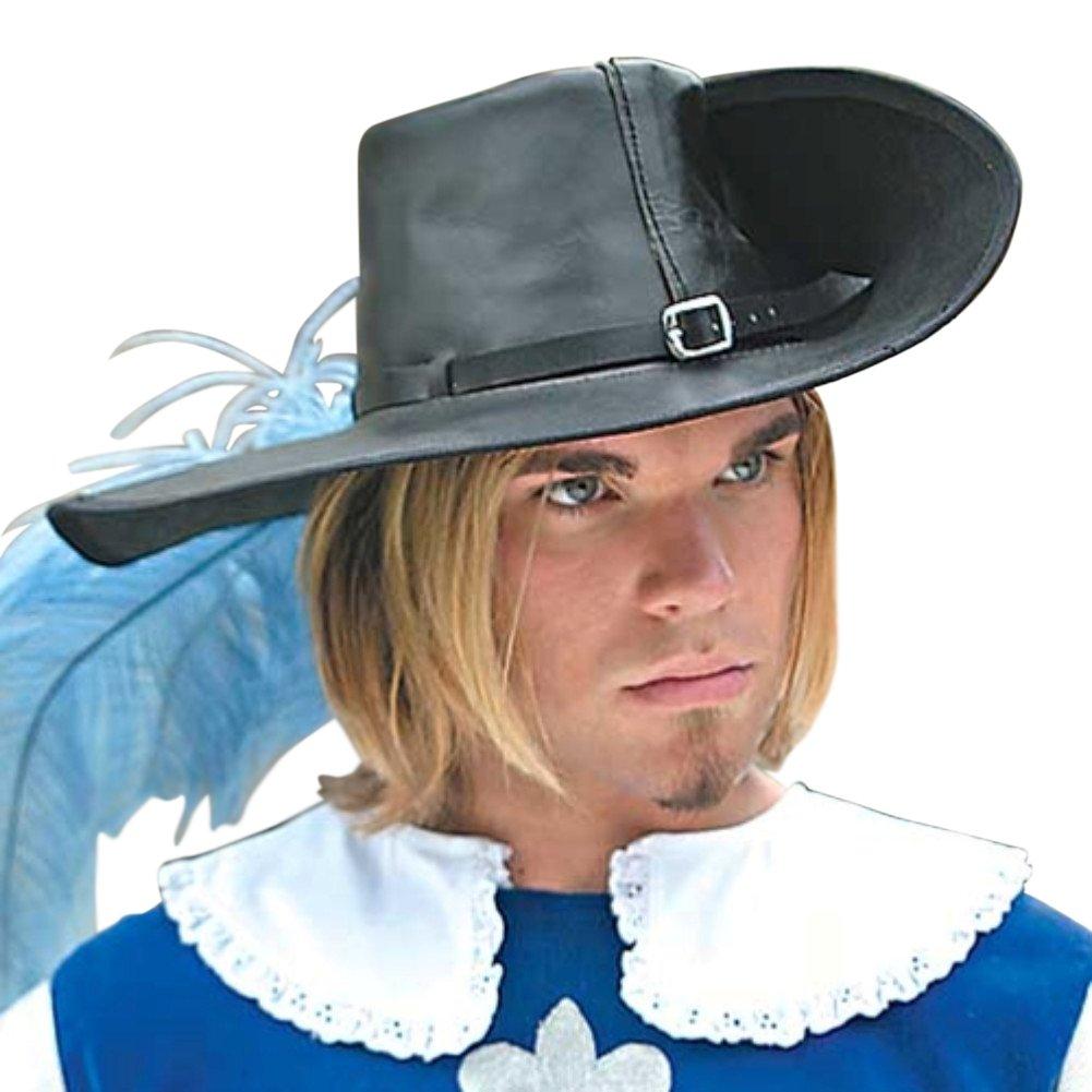 Armorvenue: Leather Cavalier Hat Medium Left Side Brim up