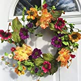 Colors of Twilight Silk Floral Wreath Peach Colored Peonies Pink Purple and Golden Yellow Anemonies Indoor Spring Summer Fall Seasonal Decor