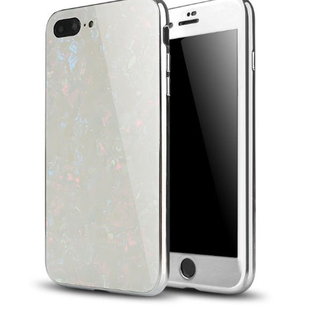 iPhone 6 Plus Magnetic Absorption Shcokproof Case,Aulzaju iPhone 6s Plus Full Body Front Back Cover with Tempered Glass Screen Protector Cover for iPhone 6 Plus/6s Plus Beauty Mirror Design-White