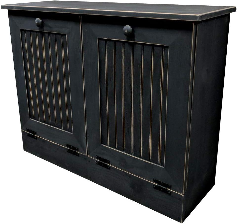 Amazon Com Sawdust City Double Tilt Out Trash Cabinet Old Black Home Kitchen