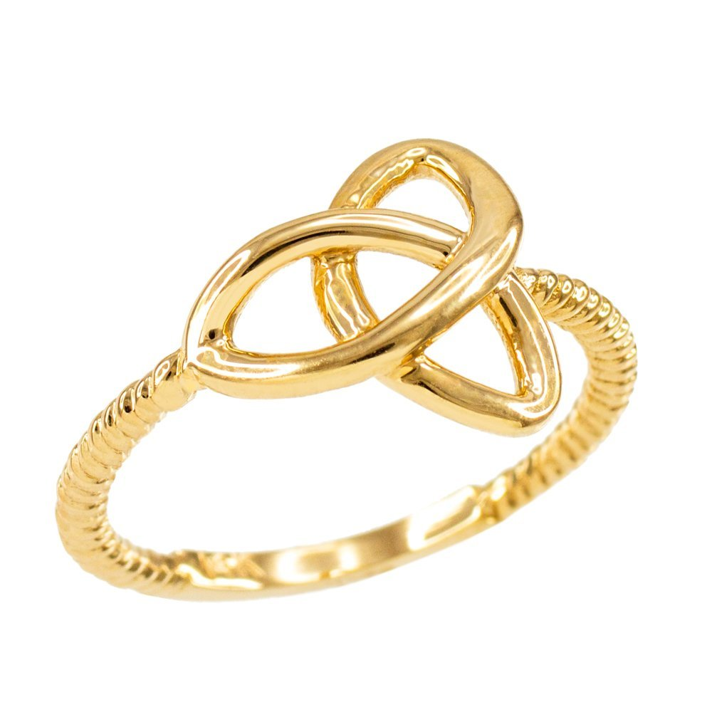 High Polish 14k Yellow Gold Twisted Style Rope Band Trinity Knot Ring (Size 5)