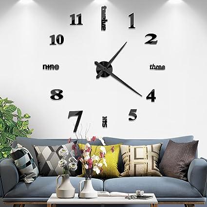 Amazon.com: Vangold Large DIY Frameless Wall Clock Modern Mute 3D ...